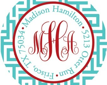 Monogrammed Address Labels - Sorority Stickers