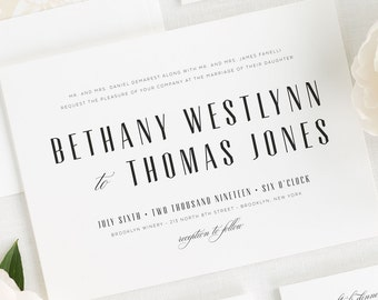 Mid Century Romance Wedding Invitations - Sample