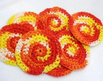 Cotton Facial Cloths, Orange and Yellow Make Up Removers, Set of Seven, Crochet Washcloths, Reusable Facial Cloths, Hostess Gift