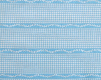 "50s 60s Vintage Fabric - Blue Gingham Stripe Cotton - 3 1/5 yards x 37"" wide"