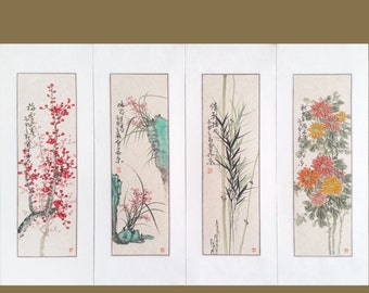Flower paintings,plum blossom,orchid,bamboo,Chrysanthemum,chinese watercolour painting,floral painting,wall art,chinese art,set of 4