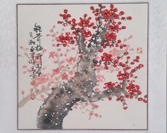 Cherry Blossom painting flowerpainting Original  chinese painting oriental art watercolour-Lovely cherry blossom tree No.96