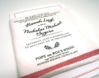 Vintage Grain Sack Wedding Invitations : Set of 50 Invitations