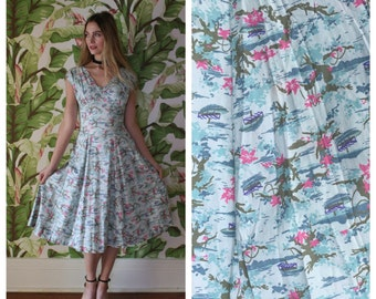 50s Novelty Dress / Valentine's Day Dress / Gorgeous Neckline / Garden Party Dress / Boats and Tree Prints / Bridesmaid Dress Wedding Party