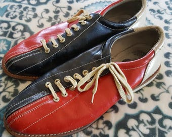 vintage bowling shoe! MOD, red and blue, JAM - men's US size 9