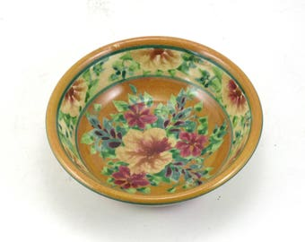 Gold Ceramic Serving Dish - Shallow Bowl with Hand Painted Flower Design - Dinnerware