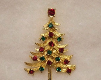 Vintage Mylu Christmas Tree Rhinestone Pin, Big Ruby Red Topper Stone