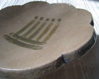 Rock Art Ceramic Dish - Bear Paw Print Pictograph - Art Dish