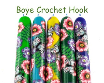 Crochet Hook, Boye Polymer Clay Covered Crochet Hook, Crochet Hook Sizes B-N, Custom Crochet Hook, Flowers and Butterflies