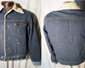 Mens Vintage 80s Roebuck brand Indigo Blue button up Sherpa fleece Lined Denim Jacket sz S with 2-Pockets