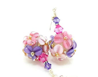 Pink Purple Floral Earrings, Lampwork Earrings, Glass Bead Earrings, Glass Earrings, Dangle Earrings, Beadwork Earring, Lampwork Jewelry