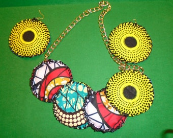 Bright African  Print Ethnic Design Handmade Fabric hook Earrings and Necklace set