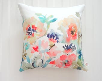 NEW! Garden Fleurs No3 Pillow Cover, Watercolor Floral Pillow Covers, Designer Fabric, 18x18, 20x20 or Lumbar Sizes