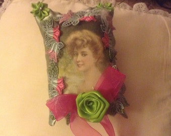 7 inch lavender scented sachet with image of Victorian lady in willow green satin