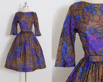 Vintage 50s Dress | vintage Jerry Gilden 1950s dress | floral silk party dress | xs s | 5873
