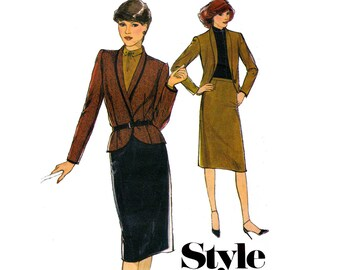 80s Pattern Style 3133 Shawl Collar Jacket & Skirt Vintage Sewing Pattern Skirt Suit Size 12 Bust 34 inches UNCUT Factory Folded