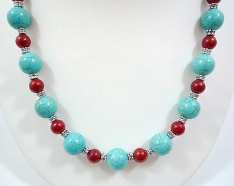 Turquoise Coral Necklace Red Coral Turquoise Necklace Gemstone Necklace Red Sponge Coral Turquoise Bead Necklace Turquoise Coral Strand