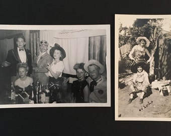 2 Vtg Photos of People Dressed In Costumes