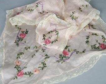 Antique Edwardian Pink Silk Embroidered Apron Pinafore with Silk Ribbon Rosettes, 1910s 1920s Apron