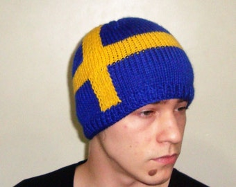 Knit Swedish Flag Hat Men Hat Womens hat in Blue Yellow Swedish Gift for Him, Swedish gifts for her