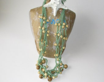 Crochet necklace, Seafoam Green with Wood Beads, Beaded Crochet Beach Necklace