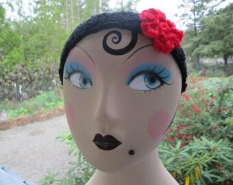 Flowered Headband by SuzannesStitches, Teen Headband, Headband, Earwarmer, Toddler Headband, Adult Hairband, Ear Warmer, Crocheted Headband