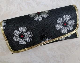Vintage Eyeglass Case, Black with Flowers