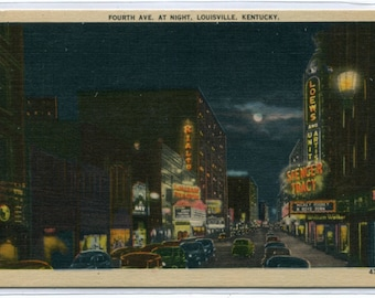 Fourth Avenue At Night Louisville Kentucky 1944 linen postcard