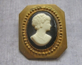 Vintage Cameo Brooch, Vintage Early Plastic Brooch, Brass Cameo pin, Black White Cameo Pendant