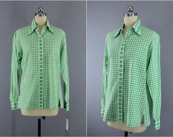 Vintage 1980s CHRISTIAN DIOR Blouse / Green & White Gingham / 80s Shirt / Preppy Summer Blouse