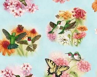 """1 handmade Set of 2, 4, or 6 surged hummingbird Napkins made in maine Carol's Country Crafts 14""""x14"""""""