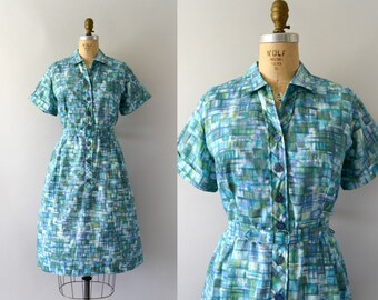 Vintage 1950s Dress - 50s Geometric Print Day Dress - Green Blue Teal Summer Spring - XL