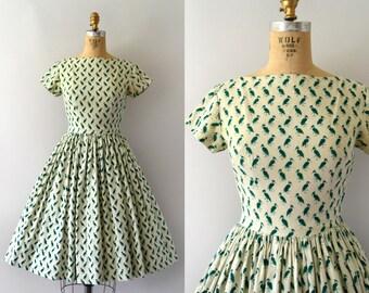Vintage 1950s Dress - 50s Novelty Bird Print Dress