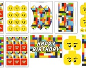 Lego inspired Birthday Party Printables - INSTANT - LEGO Theme - Printbale PDF