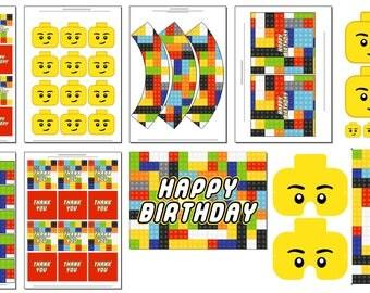 Lego inspired Birthday Party Printables - INSTANT - LEGO Theme - Printbale PDF