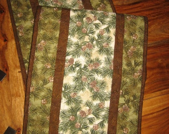 """Pine Cones and Pine Boughs Quilted Table Runner, Fall Reversible Runner, 13 x 46"""", Rustic Winter Decor"""