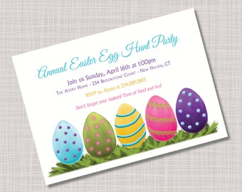 Custom Easter Eggs & Grass Easter Party Invitations