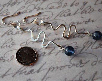 Long Funky and Fun Party Time  Sterling Silver with a Blueberry Agate Earrings