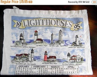 "Linen Tea Towel with Lighthouse. Linen is in great shape! Calendar of ""Save the Lighthouses"" 1995 2654"
