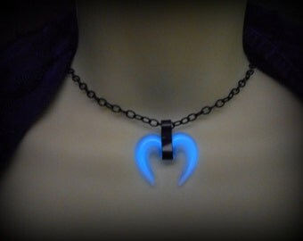 Glow in the Dark - Double Horn, Tusk, Tribal Necklace / Pendant / Choker - 8 Hour Glow!