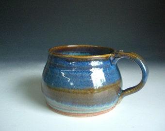 Hand thrown stoneware pottery large travelers mug    (TM-13)