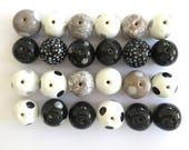 Kazuri Beads, 20 Large Kazuri Beads, Black Grey and White Ceramic Beads, Kazuri African Beads