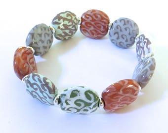 Beaded Bracelet, Kazuri Bangle, Fair Trade, Ceramic Jewellery,  Grey Brown and Light Blue Coloured Bracelet