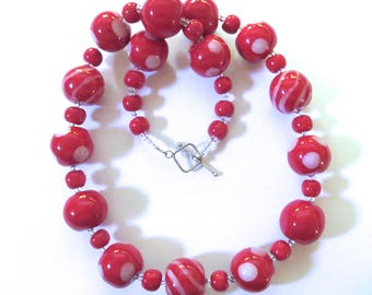 Kazuri Beaded Necklace, Ceramic Necklace,  Fair Trade, Red and White Ceramic Necklace
