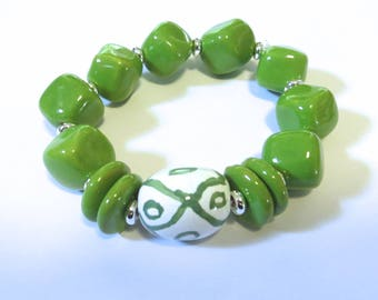 Kazuri Bangle, Green and White Ceramic Bracelet