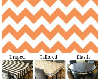 Laminated cotton aka oilcloth tablecloth custom size and fit choose elastic, tailored, or draped, orange and white chevron