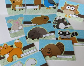 Woodland Animals 12 Nature Themed Handmade Cards Complete With Terrible Puns