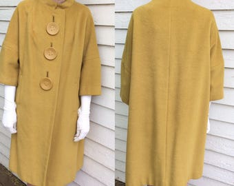 Lilli Ann Coat Blin Blin Wool Mod Yellow Mad Men 50s 60s 1950s 1960s
