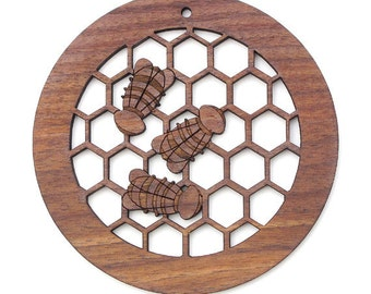 Honey Bee Ornament - Timber Green Woods. Sustainable Harvest Walnut. Made in the USA.