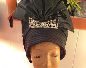 Whittal and Shon Fancy Black Hat with Sparkly Embellishments